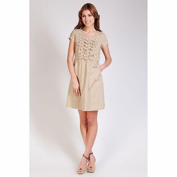 Dámske béžové šaty Tonala s volánikmi