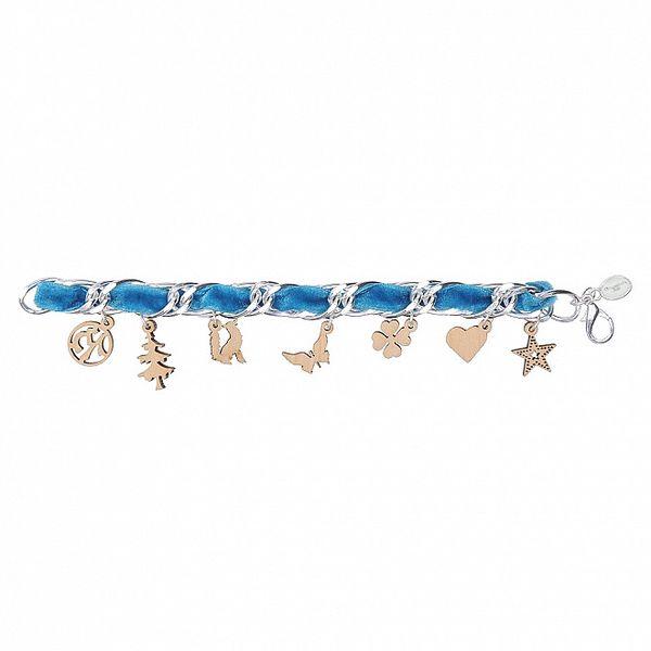 Dámský modrý náhrdelník Escapulario s dřevěnými přívěsky