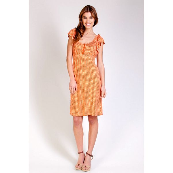 Dámske oranžové šaty Tonala s bielymi bodkami