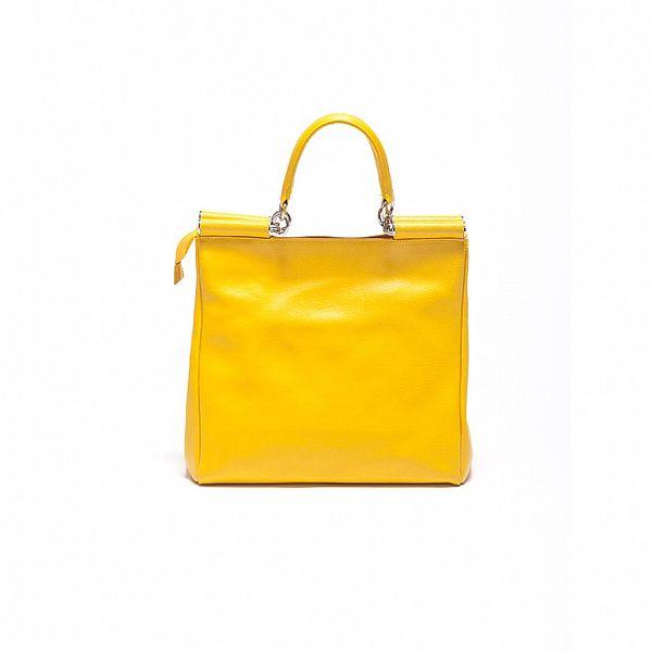 Dámska citrónovo žltá kožená retro kabelka Carla Ferrari