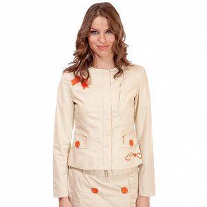 Dámske béžové sako Rosalita McGee s výšivkou