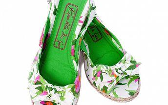 Dámske zeleno-biele letné lodičky s kvetinovým vzorom Rosalita McGee