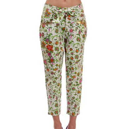 Dámské zeleno-bílé kalhoty s květinovým vzorem Rosalita McGee