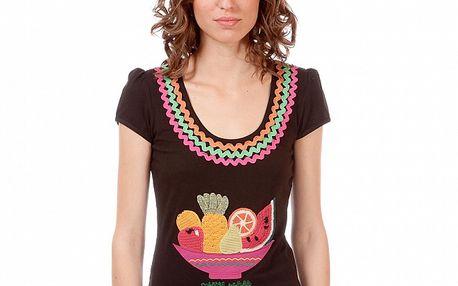 Dámské hnědé tričko s ovocným potiskem Rosalita McGee