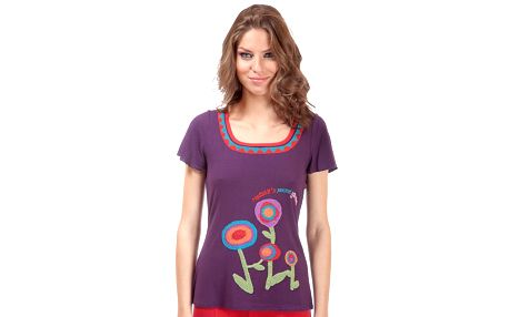 Dámske fialové tričko Rosalita McGee s motívom kvetiniek