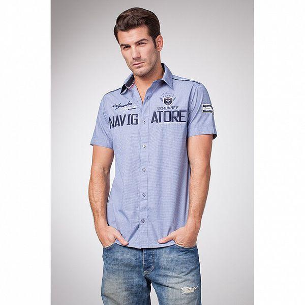 Pánska modrá košeľa s krátkym rukávom Bendorff