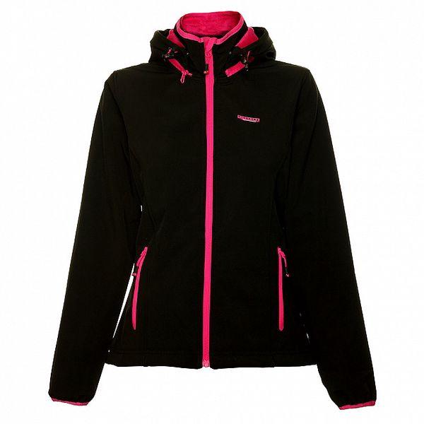 Dámská černá softshellová bunda Envy s růžovými detaily