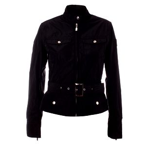 Dámsky čierny kabátik so stojačikom a opaskom Refrigue