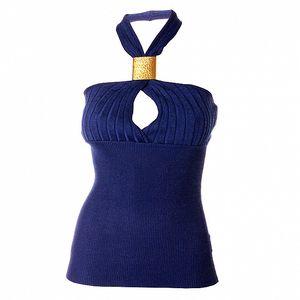 Dámský tmavě modrý úpletový top Baby Phat s velkou zlatou sponou