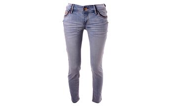 Dámské světle modré skinny džíny Baby Phat s hnědým koženým lemem