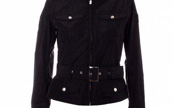Dámský černý kabátek se stojáčkem a páskem Refrigue