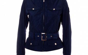 Dámsky tmavo modrý kabátik so stojačikom a opaskom Refrigue