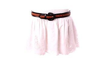 Dámská bílá krajková minisukně Baby Phat s hnědým páskem