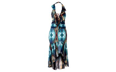 Dámske tyrkysovo-modré šaty Baby Phat s potlačou