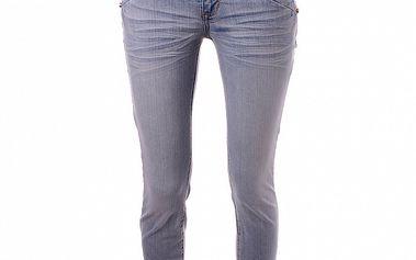 Dámske svetlo modré skinny džínsy Baby Phat s hnedým koženým lemom