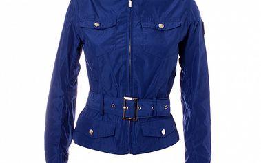 Dámský modrý kabátek se stojáčkem a páskem Refrigue