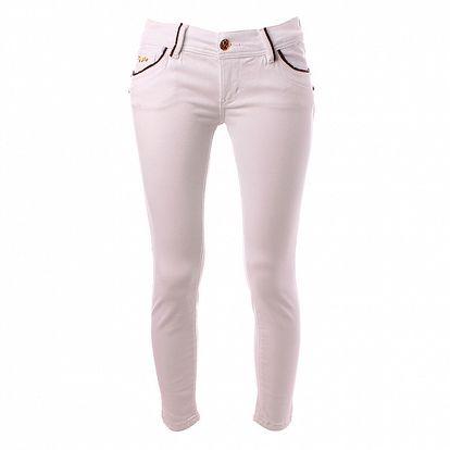 Dámske biele skinny džínsy Baby Phat s hnedým koženým lemom