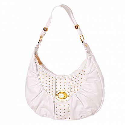 Dámska biela kabelka Baby Phat so zlatými cvokmi