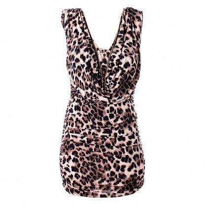 Dámske hnedé leopardie šaty Baby Phat s retiazkami