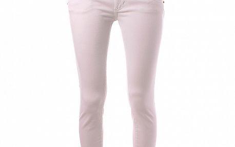 Dámské bílé skinny džíny Baby Phat s hnědým koženým lemem