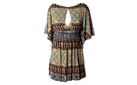 Dámske zlato-tyrkysové šaty Baby Phat s indickým vzorom