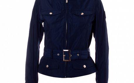 Dámský tmavě modrý kabátek se stojáčkem a páskem Refrigue
