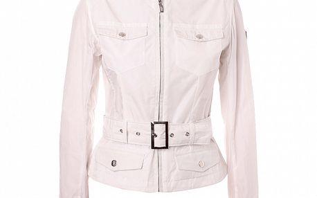 Dámský bílý kabátek se stojáčkem a páskem Refrigue