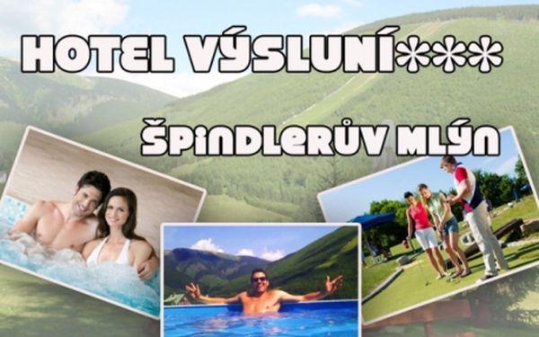 Špindlerův mlýn! 3 dny pro dva vč. Polopenze, bazénu, vířivky, minigolfu, trampolíny a dalších zábav v hotelu výsluní*** a okolí!!!