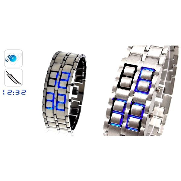UNIKÁTNÍ LED hodinky SAMURAJ ve stříbrném provedení s MODRÝM LED zobrazením času a data za 199 Kč - přivítejte budoucnost!