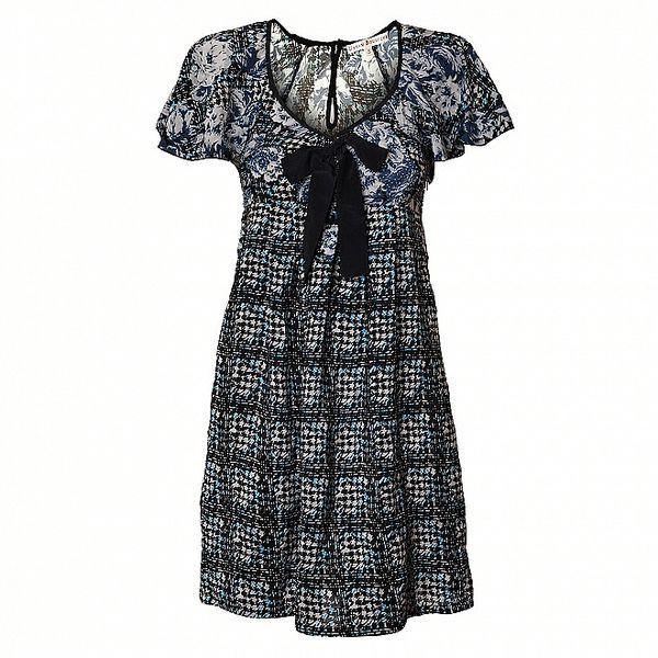 Dámské černo-modré šaty Uttam Boutique s potiskem
