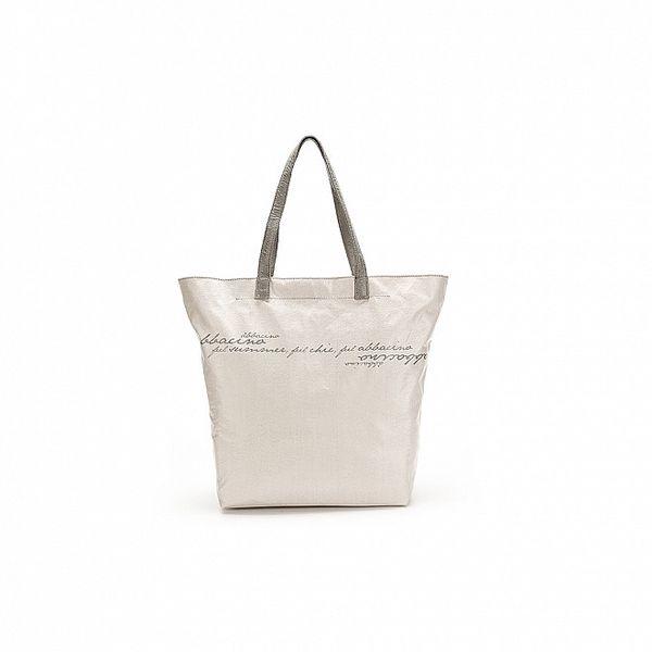 Dámska biela kabelka so šedými nápismi Abbacino