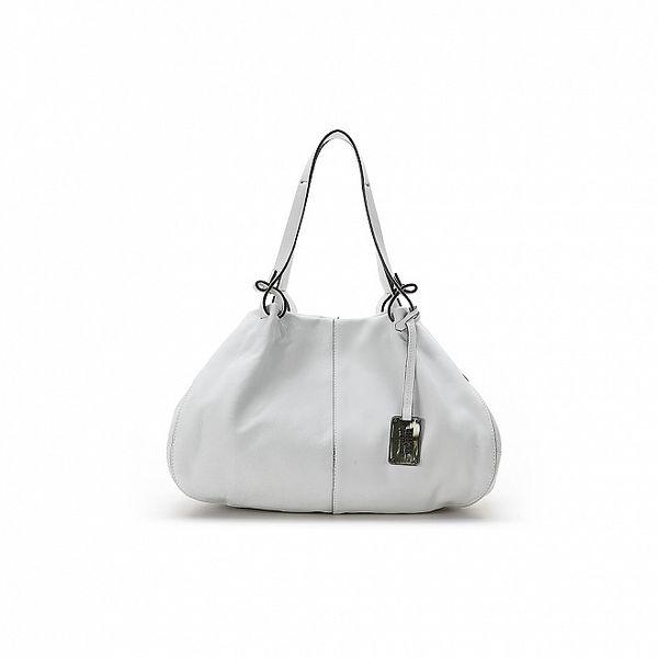 Dámská bílá kožená kabelka s černými lemy Abbacino