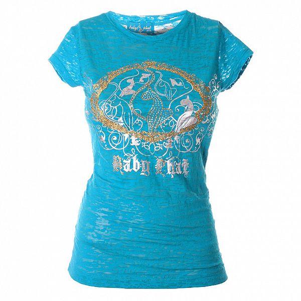 Dámsky azúrovo modrý top Baby Phat so zlato-striebornou potlačou
