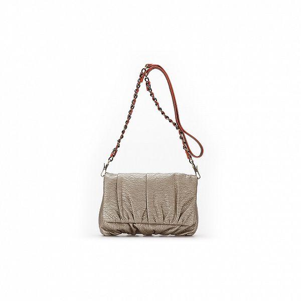 Dámska metalicky béžová malá kabelka s retiazkovou úchytkou Abbacino