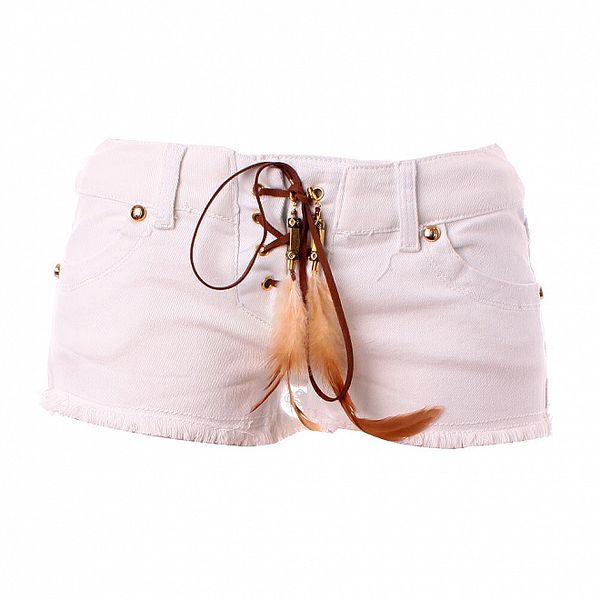 Dámské bílé denimové mini šortky Baby Phat