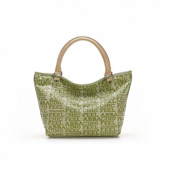 Dámska zelená kabelka s béžovými úchytkami a nápismi Abbacino