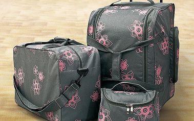 Sada cestovních tašek na kolečkách + kosmetická taška
