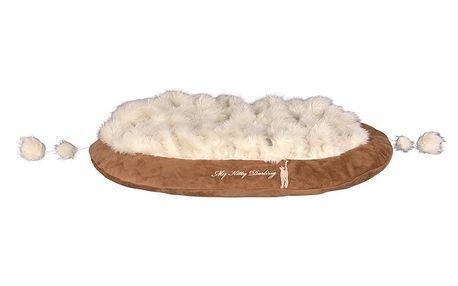 Plyšový pelíšek Askino, béžová. Extra měkký s elegantní výšivkou