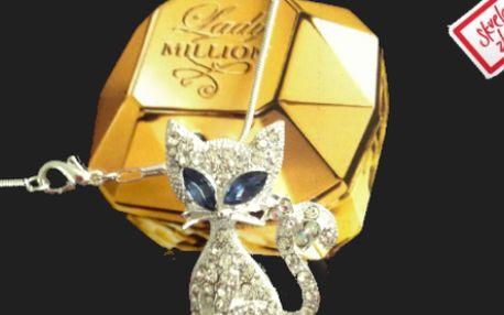 Retiazka a štýlový prívesok mačka so Swarovski krištáľmi za 5,9 € vrátane poštovného!