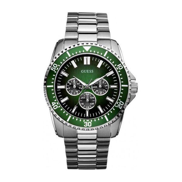 Pánské hodinky Guess stříbrno-zelené kulaté