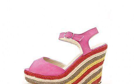 Dámske ružové kožené sandále s farebným jutovým podpätkom Boaime