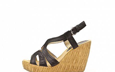 Dámske čierne sandále Boaime na vysokom podpätku