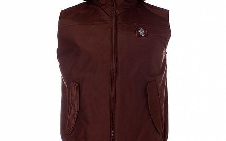 Pánska hnedá vesta Refrigue s kapucňou
