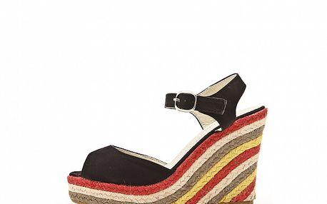 Dámske čierne kožené sandále s farebným jutovým podpätkom Boaime