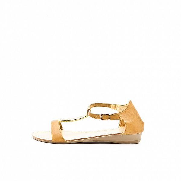 Dámské velbloudí sandále Boaime se zlatou aplikací