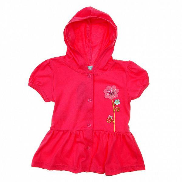 Holčičí růžová mikina s kapucou a květinovou výšivkou Lullaby