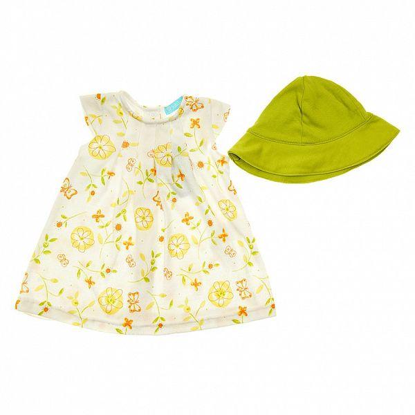 Detský set bielych šatočiek so žlto-zelenými kvetmi a zelenou čiapočkou