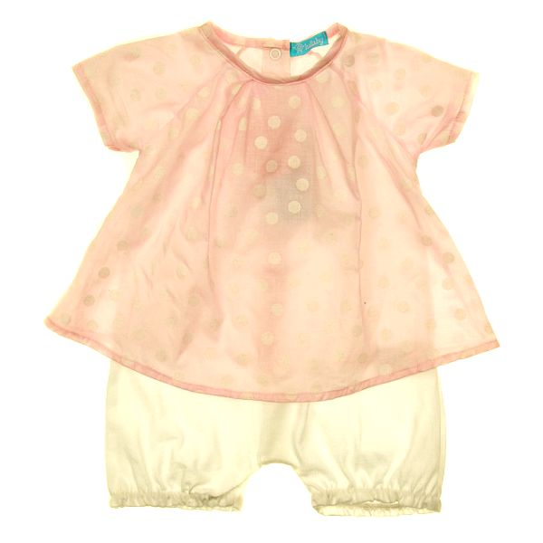 Detský set ružového trička a bielych nohavíc Lullaby