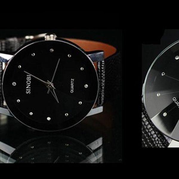 Luxusní pánské hodinky SINOBI LUXURY DIAMOND s unikátním sklíčkem s krásným koženým řemínkem a antialergenní a odolné nerezové oceli pro pohodlné nošení!