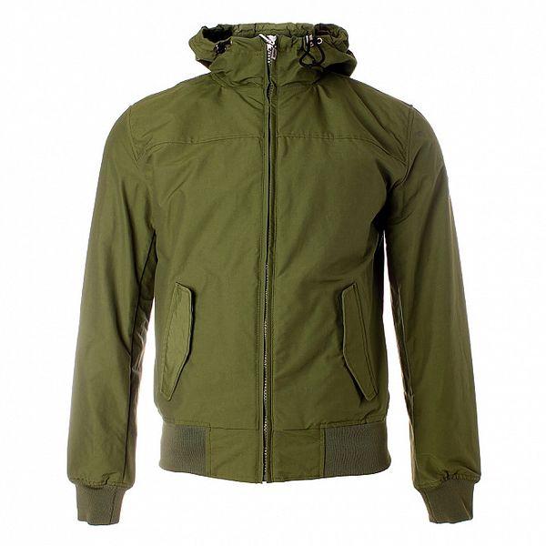 Pánská khaki jarní bunda Refrigue s kapucí